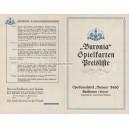 Preisliste Buronia 1935 Spielkarten (WK 100845)
